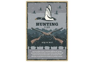 Duck hunting vintage card