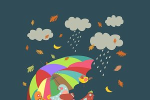 Colorful cute birds under umbrella