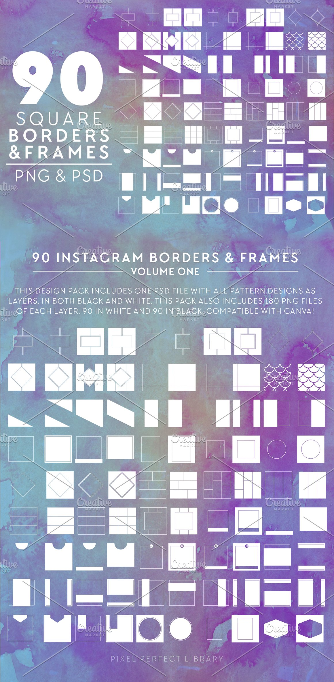 90 PNG & PSD Borders & Frames