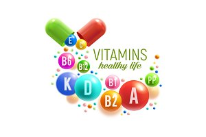 Vitamin pill and capsules