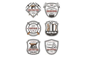 Construction retro icons
