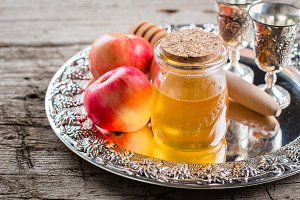 Honey Jar and Apples on beautiful tr