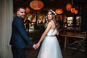 Bride and groom at wedding Day walki