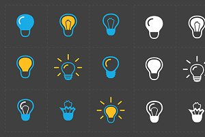 Light bulbs. Bulb icon set.