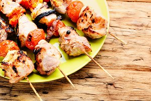 Grilled meat skewers, shish kebab