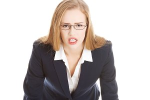 Angry and furious business woman.