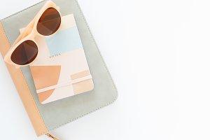 Stock Photo Notebooks & Sunglasses