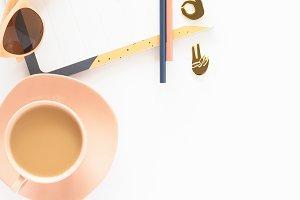 Stock Photo - Peach & Blue Flatlay