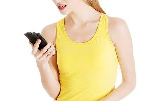 Beautiful casual woman in yellow top