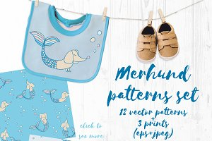 Merhund vector patterns set