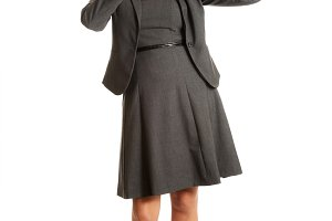 Surprised businesswoman holding a