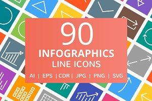 90 Infographics Line Icons