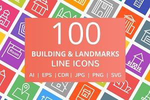 100 Building & Landmarks Line Icons