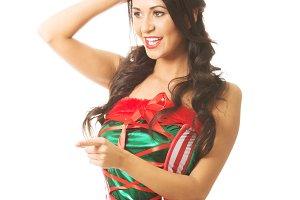 Portrait of woman wearing elf