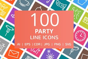 100 Party Line Multicolor B/G Icons