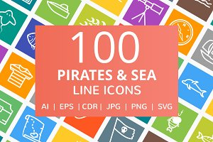 100 Pirate & Sea Line Icons