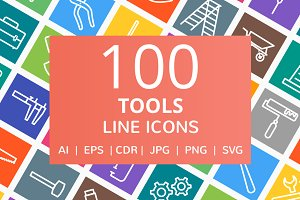 100 Tools Line Multicolor B/G Icons