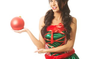 Woman holding christmas bubble on