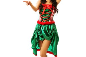 Woman wearing elf clothes pointing