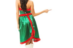 Back view of woman wearing elf