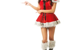 Beautiful slim woman wearing santa