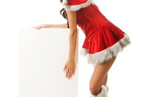 Santa woman holding white empty