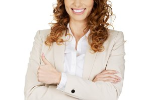 Businesswoman with thumbs up wearing