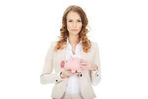 Business woman with piggybank.