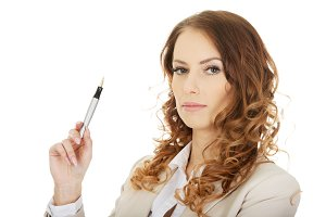 Businesswoman holding a pen.