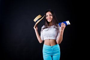 Portrait of a happy woman posing wit