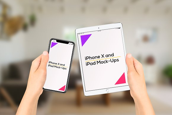 iPhone X and iPad on Hand Mock-Up