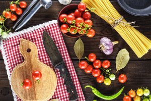 cutting board with a knife