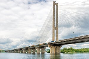 Cable bridge on the river