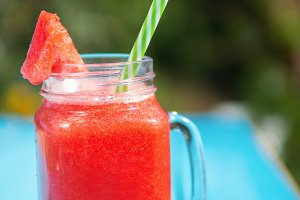 Watermelon lemonade in a glass mug