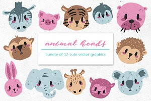 CUTE ANIMALS - Bundle of 12 Graphics
