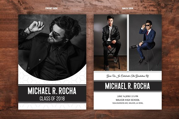 graduation announcement template v03 card templates creative market