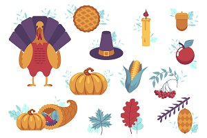 Vector set of flat thanksgiving