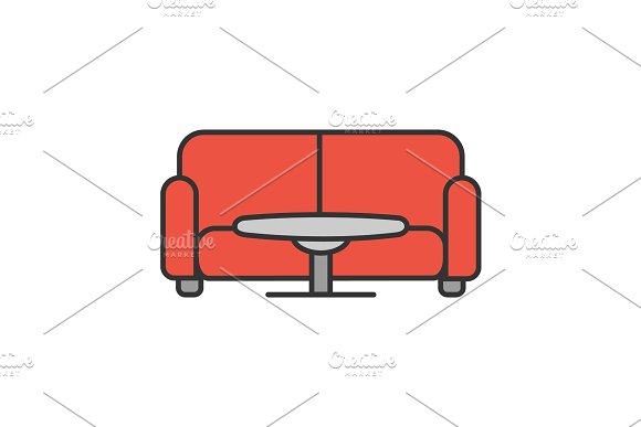 Table and sofa color icon