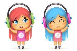 Girl headphones happy listen music