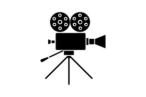 Movie camera glyph icon