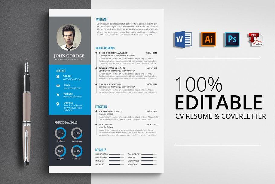 Modern CV Resume Word Templates Creative Market
