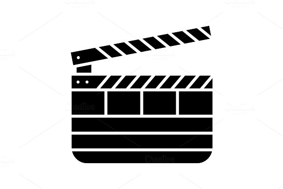 Clapperboard glyph icon in Icons