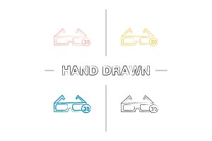 3D glasses hand drawn icons set