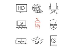 Cinema linear icons set