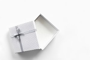 White empty gift box isolated top
