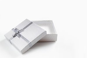 White empty gift box isolated