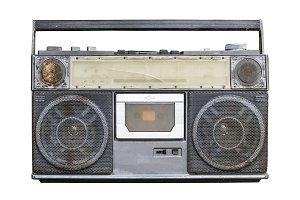 old stereo on white background