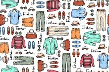 Pattern with hand drawn men's wear