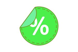 Round sticker with percent icon