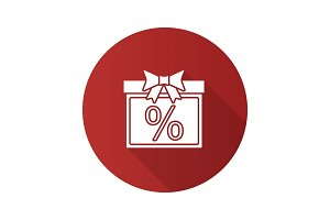 Sale flat design long shadow icon